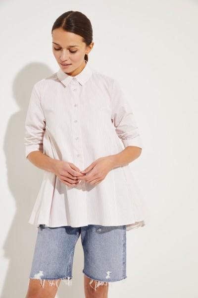 Gestreifte Bluse mit verkürzten Ärmel Sand/Weiß