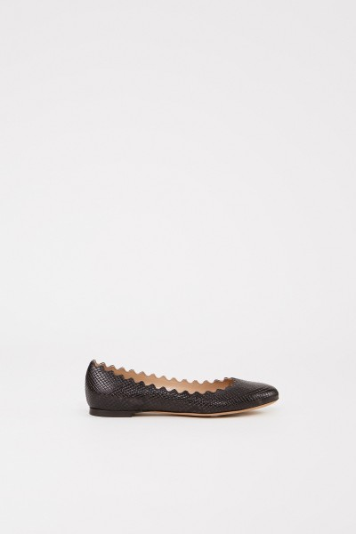 Leather flat with shell hem Black