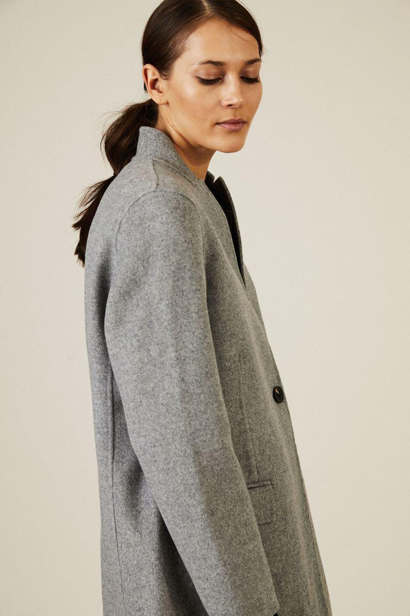 Kurzer Woll-Mantel Grau