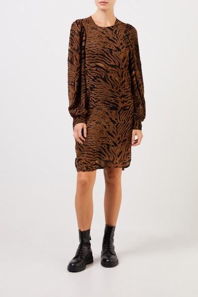 Ganni Kurzes Kleid mit Tigerprint Braun/Schwarz