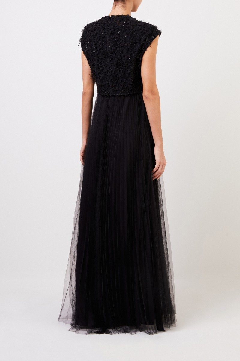 Fabiana Filippi Langes Abendkleid mit Details Schwarz