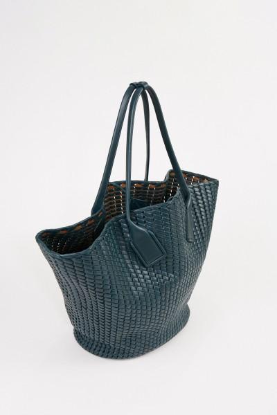 Bottega Veneta Leder-Shopper 'Basket Tote' aus Intreccio-Netz Petrol