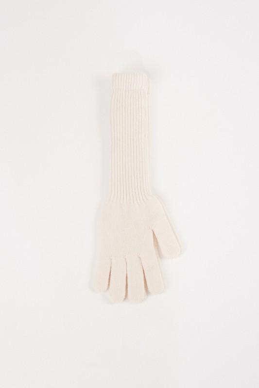 Uzwei Lange Woll-Cashmere-Handschuhe Weiß