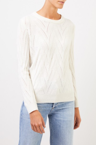 Uzwei Cashmere sweater with knit pattern White