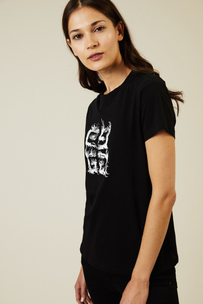 T-Shirt mit frontalem Logo-Druck Schwarz