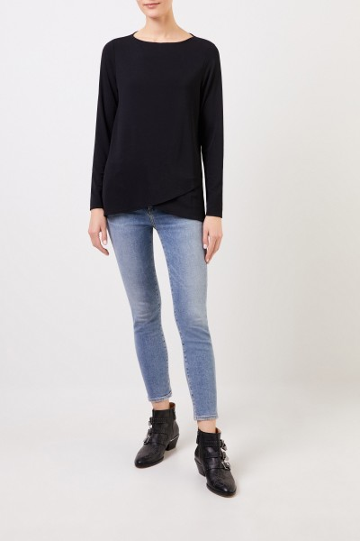Longsleeve with asymmetric hems Black