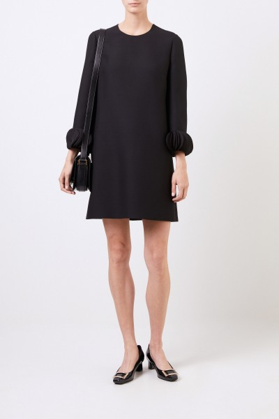 Valentino Wool-silk dress with applications Black
