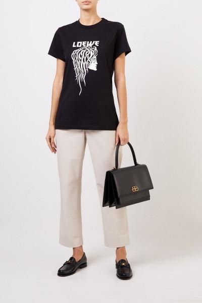 T-Shirt mit frontalem Logo-Detail Schwarz/Weiß