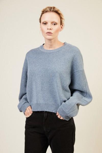 Oversize Woll-Pullover Taubenblau