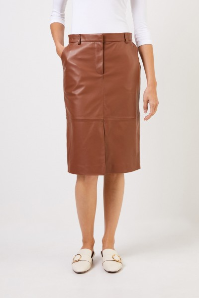 Iris von Arnim Leather skirt 'Danae' with slit detail Camel