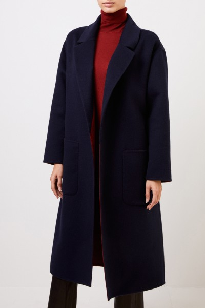 Colombo Cashmere coat with belt Blue/Red