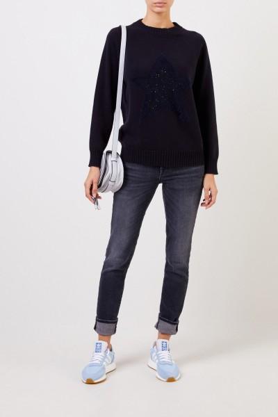 Woll-Pullover mit Sterndetail Marineblau