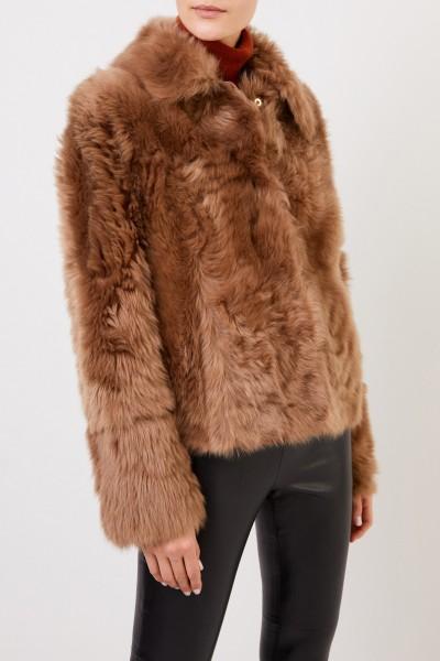 Yves Salomon Lambskin jacket with collar Light Brown