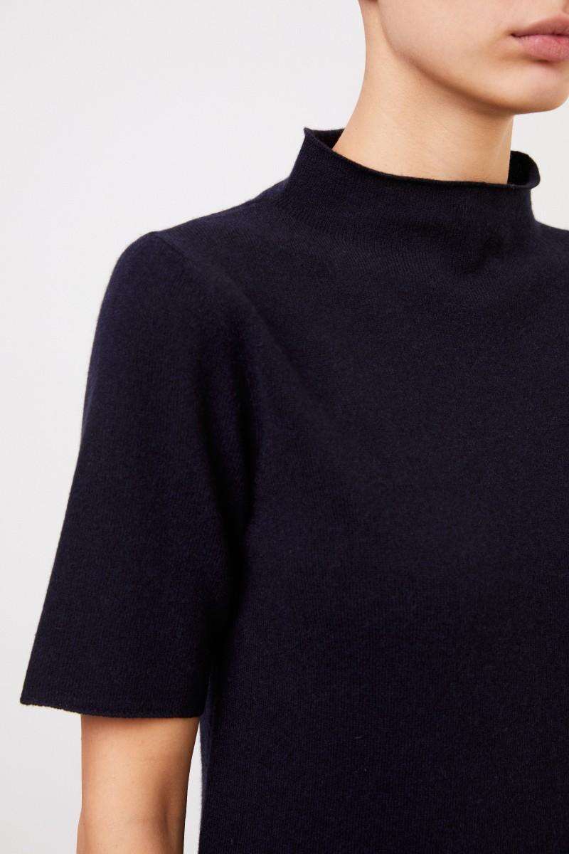 Fabiana Filippi Kurzarm Woll-Seiden-Pullover Marineblau