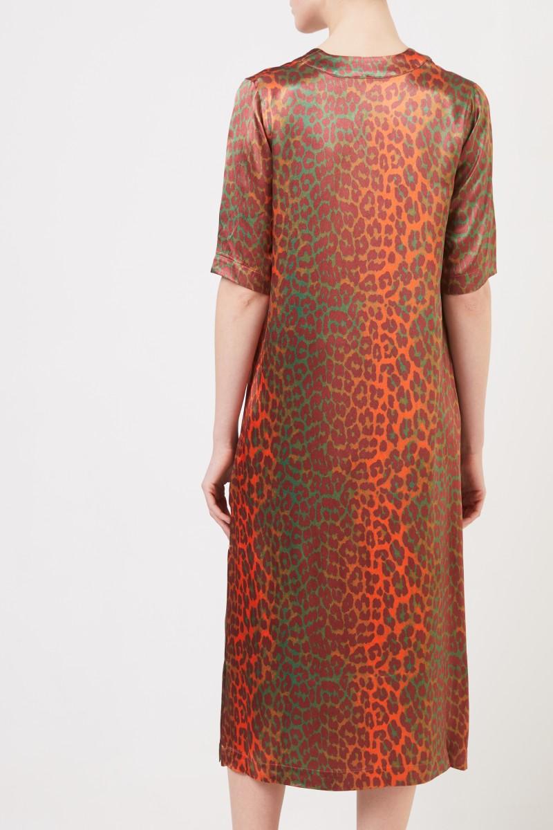Satin-Kleid mit Leoprint Orange/Grün