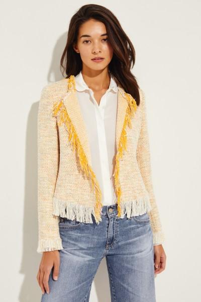 Tweed-Blazer mit Fransen Gelb/Multi