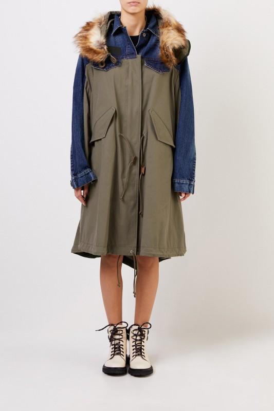 Sacai Langer Mantel mit Kapuze Blau/Khaki