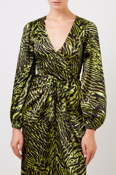 Ganni Silk blouse with tiger print Green/Black