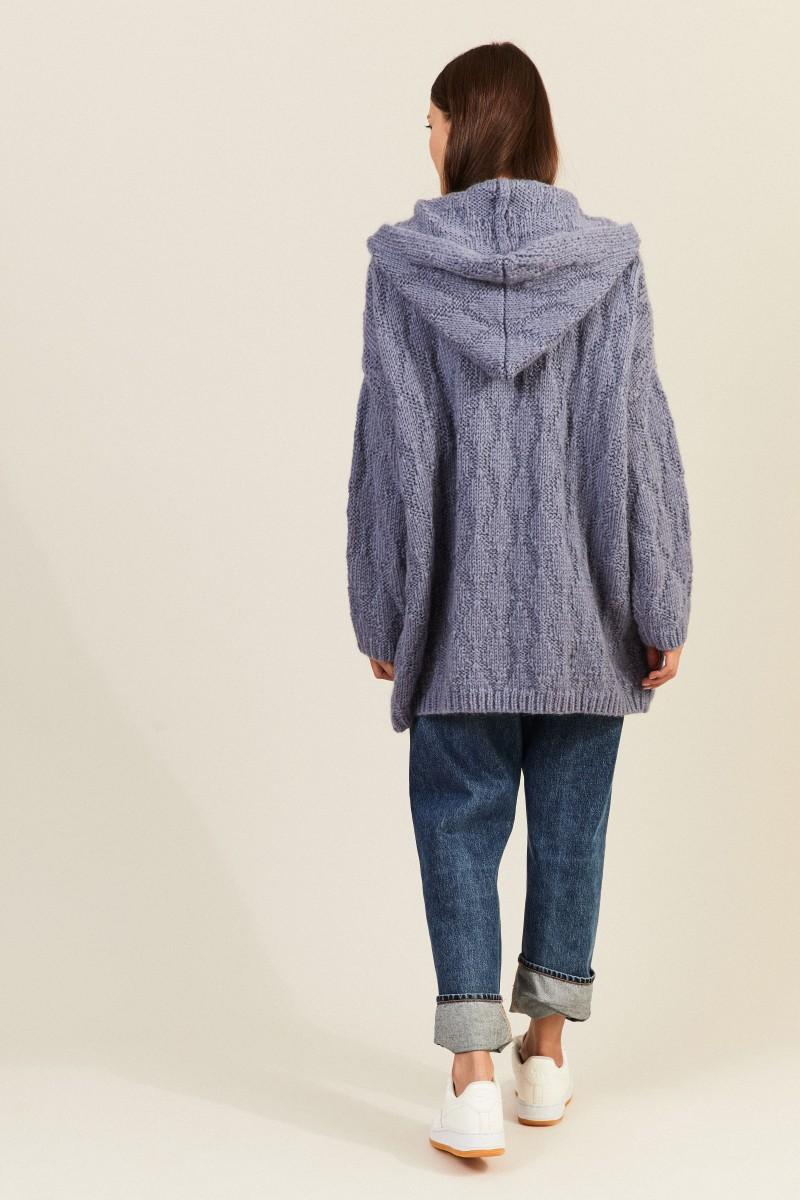 Mohair-Woll-Cardigan mit Kapuze Taubenblau