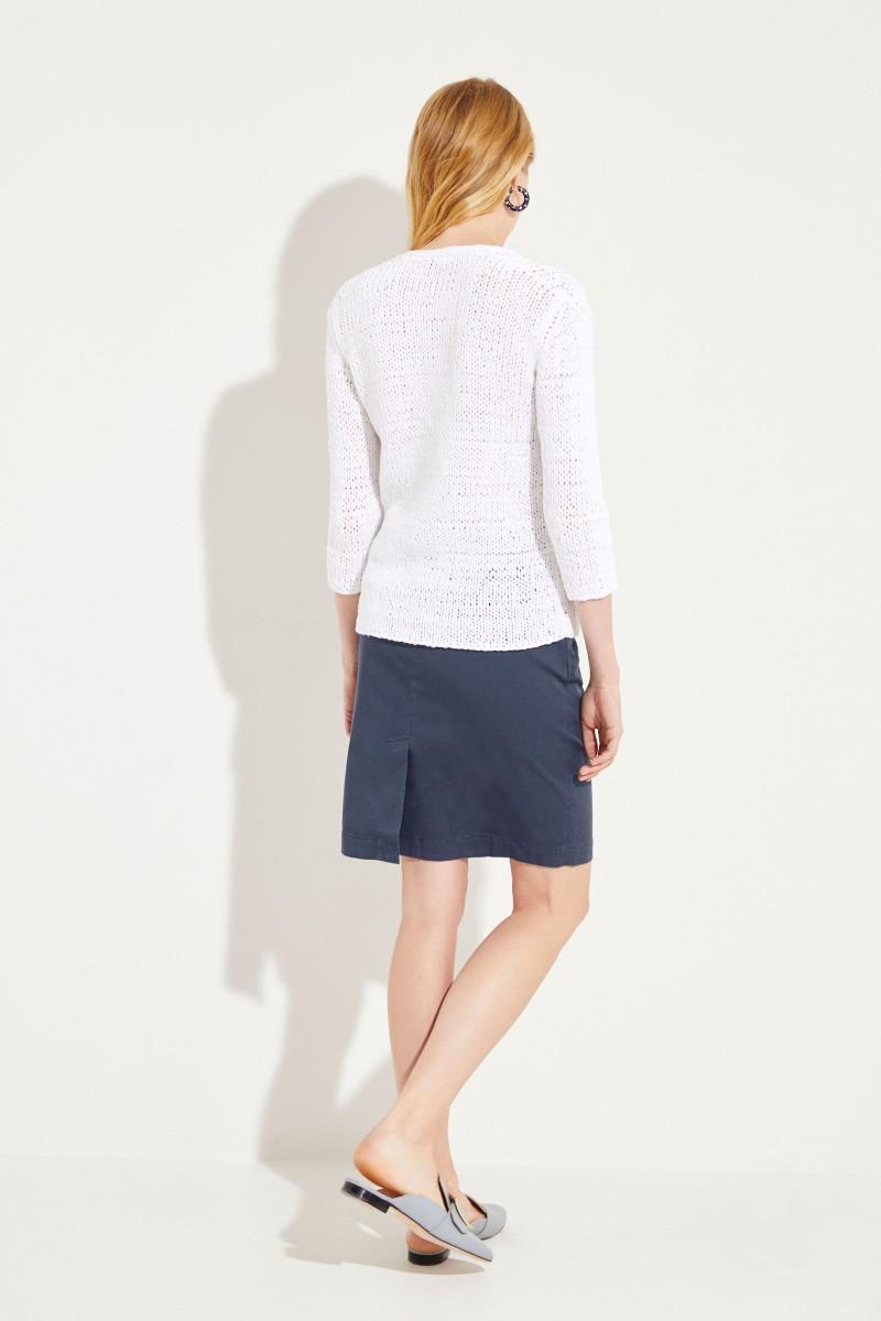 Baumwoll-Leinen-Pullover mit Pailletten Weiß