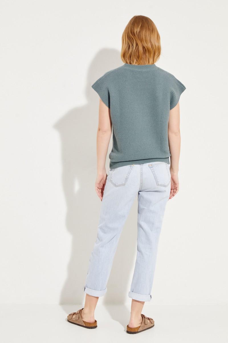 Kurzarm Woll-Cashmere-Pullover Salbei