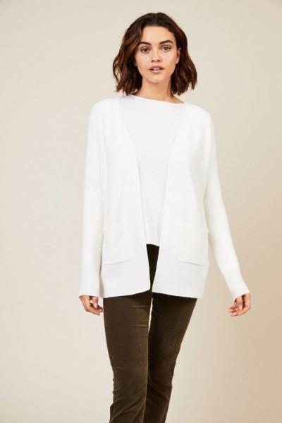 Cashmere-Cardigan mit offener Front Weiß