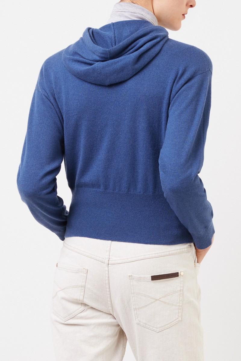 Brunello Cucinelli Cashmere-Hoodie mit Kapuze Blau