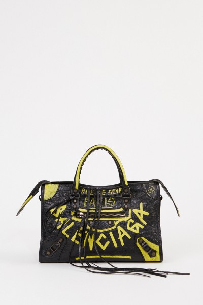 Bag 'City Bag' with graffiti details Black/Yellow