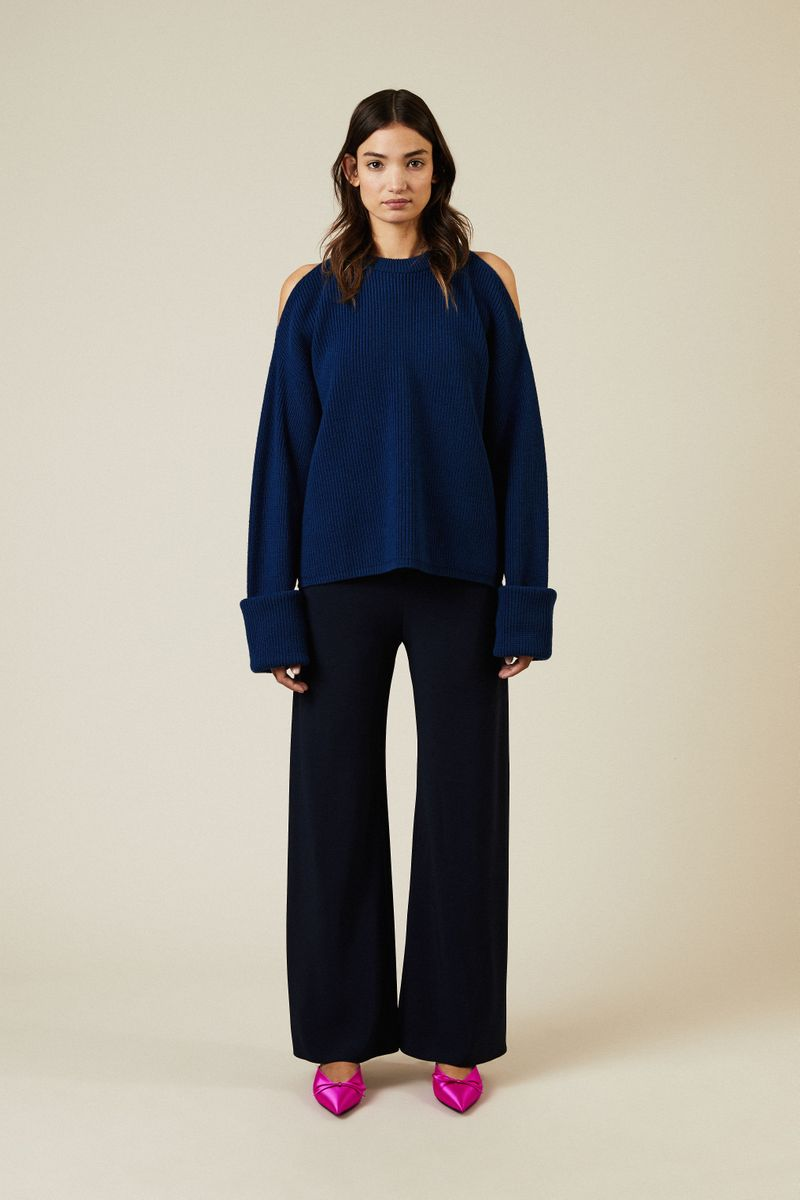 Oversize Woll-Pullover mit Cut-Outs Blau