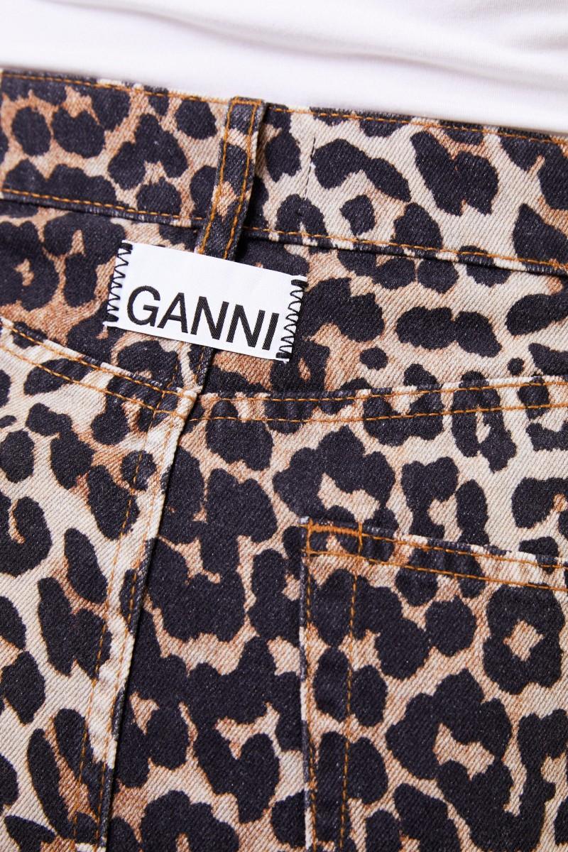 Ganni Kurzer Rock mit Leoprint Multi