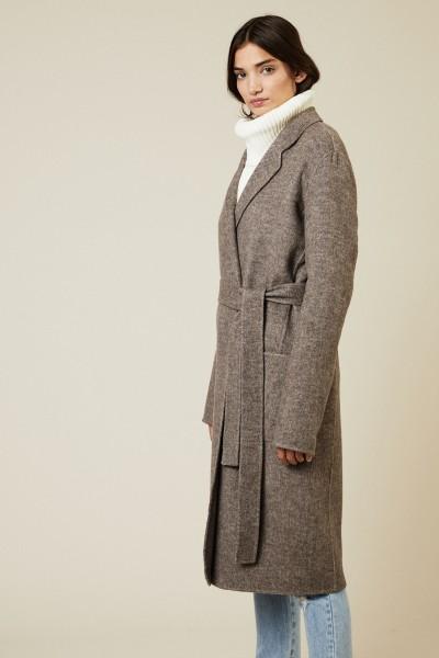 Woll-Mantel mit Gürtel Taupe