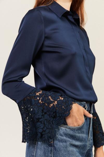 Seiden-Bluse 'Margareta' Marineblau