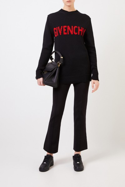 Cotton sweater with logo detail Black/Red