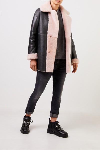 Furry Reversible Lambskin Jacket Rosé/Black