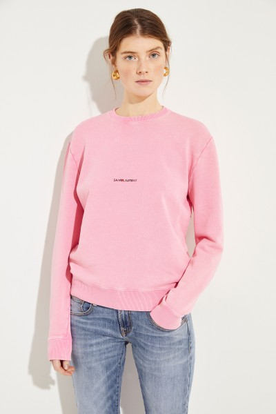 Saint Laurent Sweatshirt with Logo-Print Rose/Black