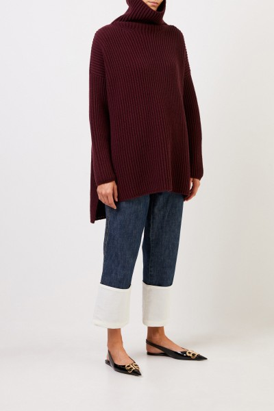 Joseph Wool pullover with slit detail Bordeaux