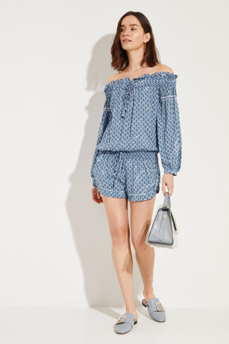 Jumpsuit 'Clara' mit floralem Print Blau/Multi