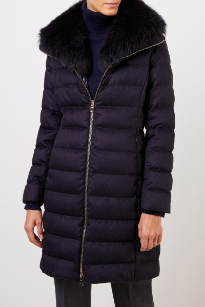 Herno Cashmere silk down coat with fox collar Navy Blue