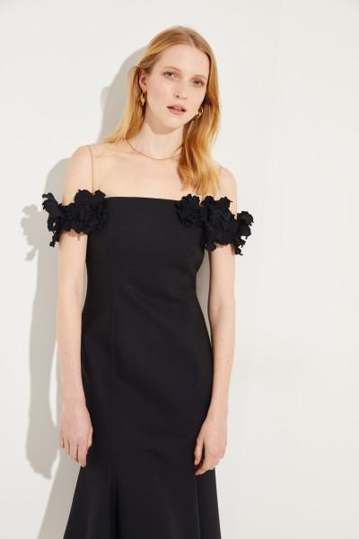 Oscar de la Renta Wool evening dress with net detail Black/Nude