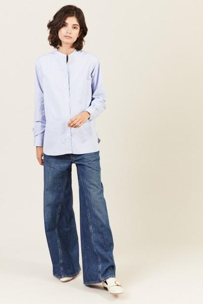 Baumwoll-Bluse Weiß/Blau