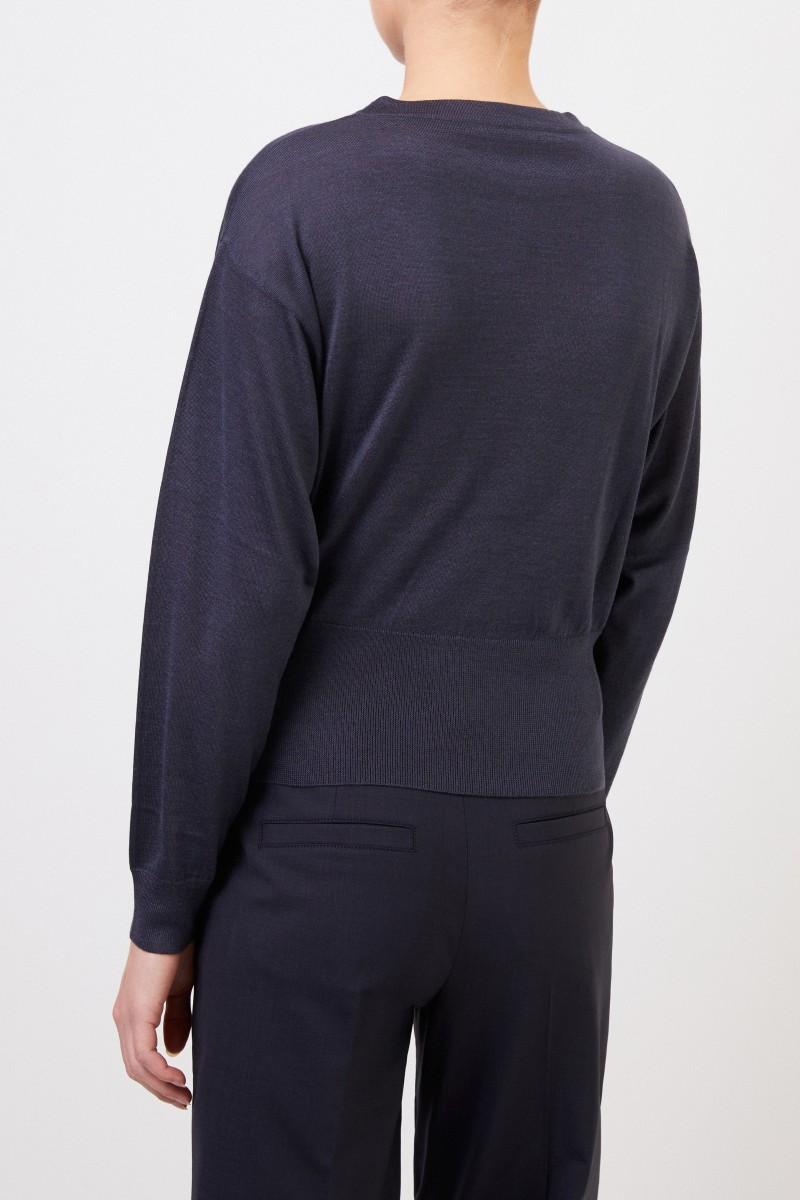 Brunello Cucinelli Cashmere-Seiden-Pullover Dunkelblau