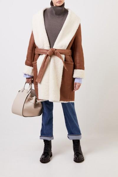Lambskin coat with belt Brown/Cream