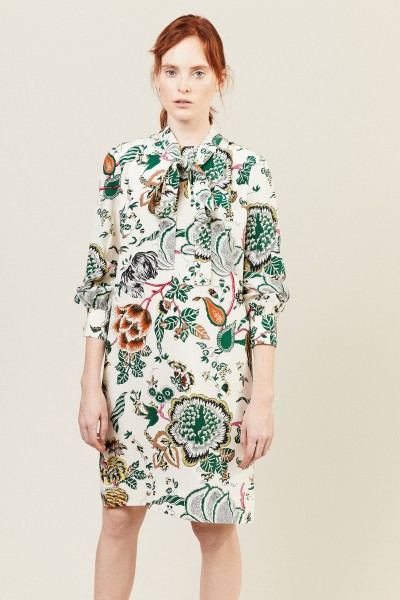Seiden-Kleid 'Marilyn' Créme/Multi