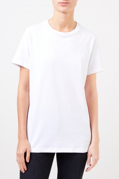 Moncler T-Shirt with frontal logo detail White