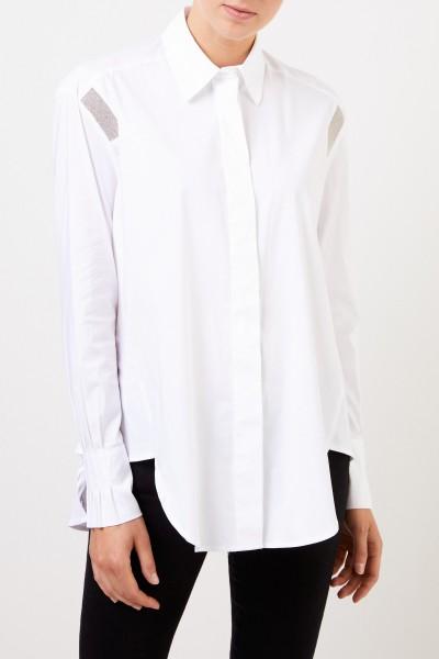 Steffen Schraut Ausgestellte Bluse mit Perlenverzierung Weiß