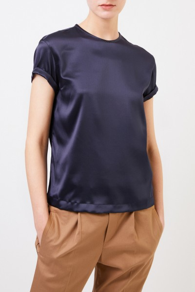 Brunello Cucinelli Silk top with pearl decoration Navy Blue