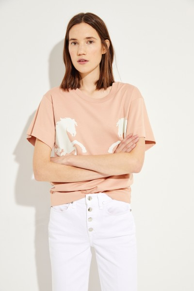 T-Shirt mit Pferde-Print Coffee Pink
