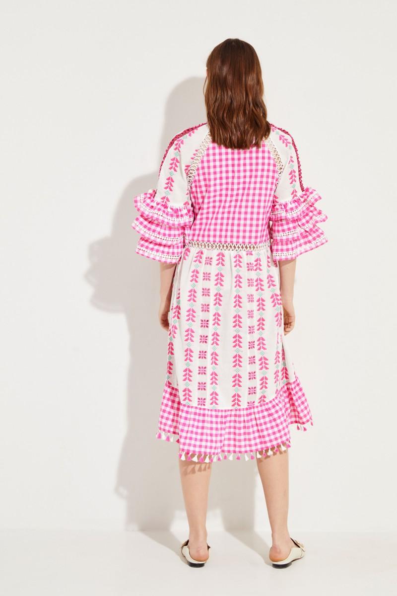 Kleid 'Lola' mit Stickdetails Fuchsia/Multi