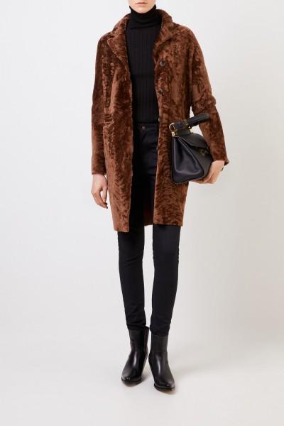 Reversible lambskin coat 'Serena Astracan' Brown