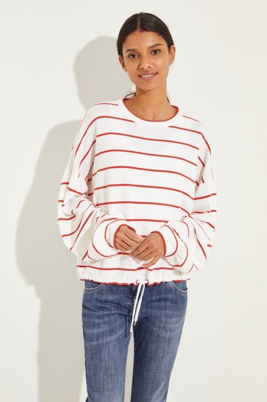 Gestreifter Woll-Cashmere-Pullover Weiß/Rot